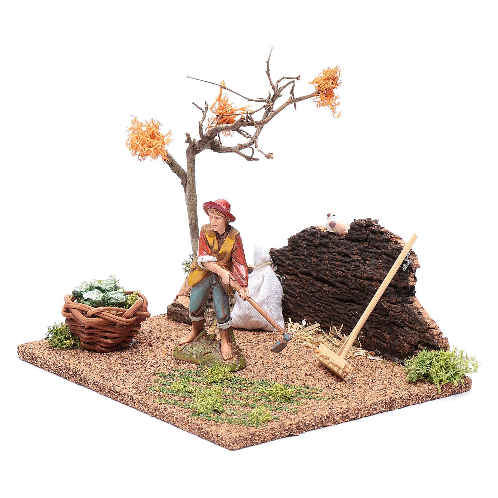 Hombre cavando en el huerto para belén 15x20x15 cm 3