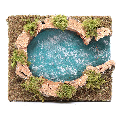 Teich mit Flüsseinmündung, 15x15 cm 1