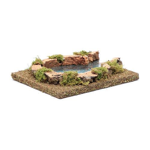 Teich mit Flüsseinmündung, 15x15 cm 2