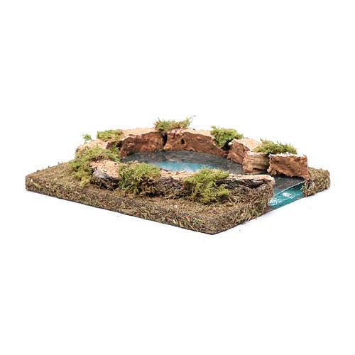 Teich mit Flüsseinmündung, 15x15 cm 3