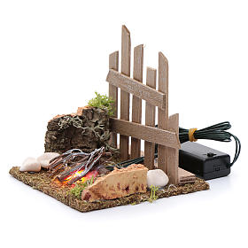 Campfire with fence and LED light with batteries 10x10x10 cm s2
