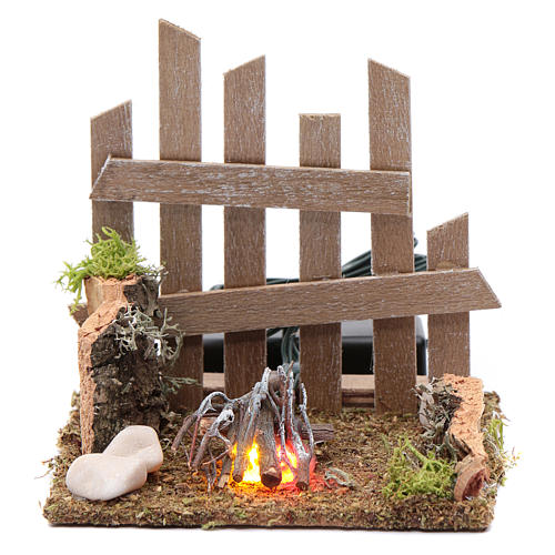 Campfire with fence and LED light with batteries 10x10x10 cm 1