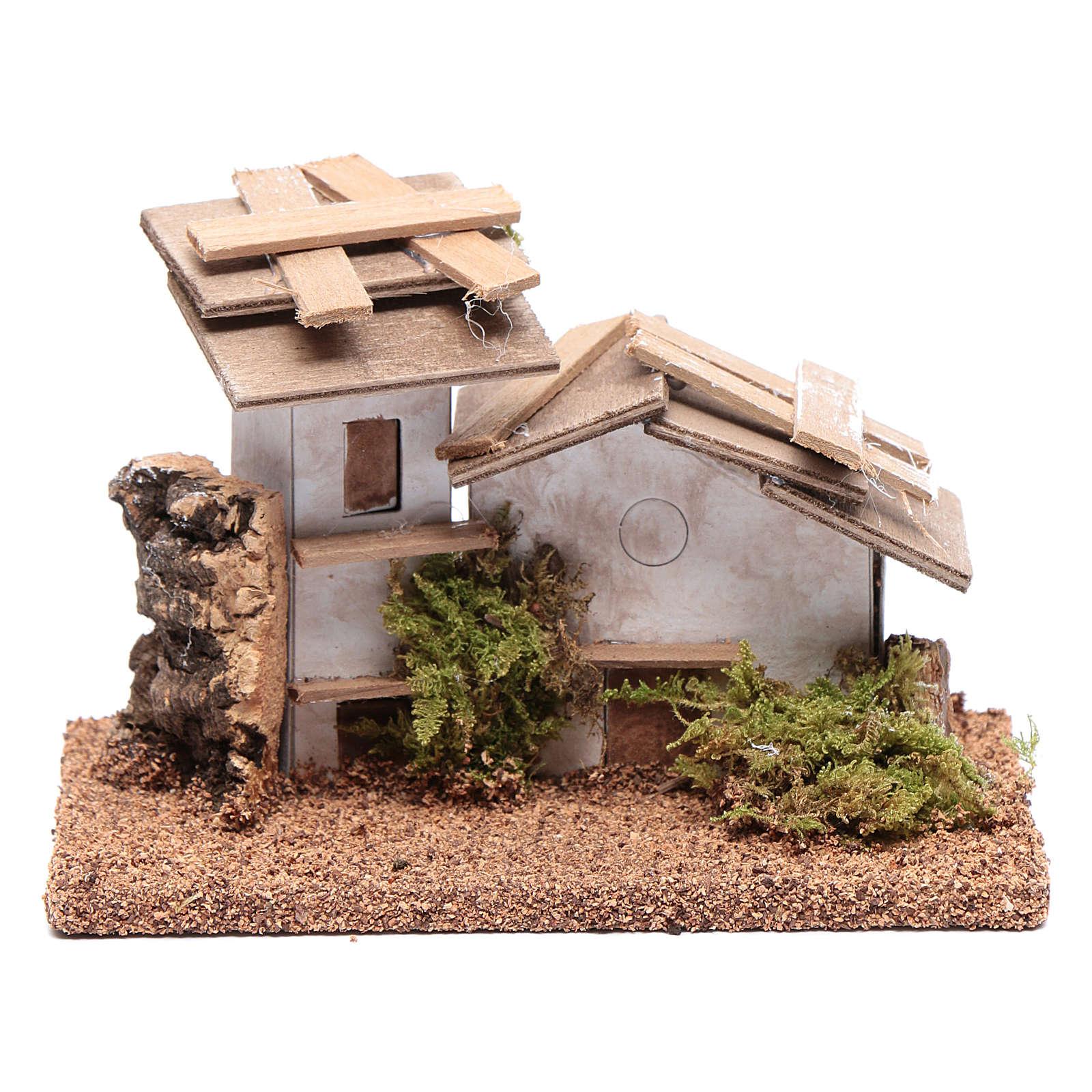 Maisonnette bois et plâtre 10x15x10 cm 4