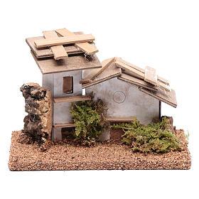 Maisonnette bois et plâtre 10x15x10 cm s1