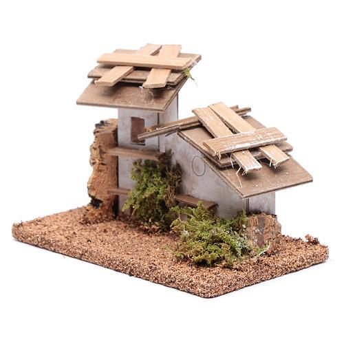 Maisonnette bois et plâtre 10x15x10 cm 2