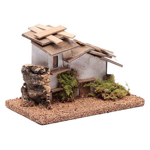Maisonnette bois et plâtre 10x15x10 cm 3