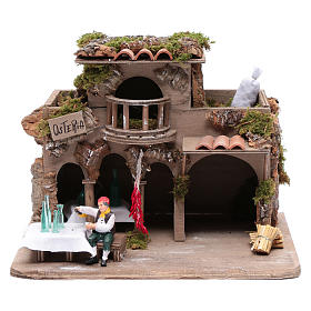 Inn with drinker for nativity scene 20x30x20 cm s1