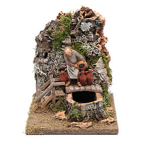 Settings, houses, workshops, wells: Fountain with innkeeper for nativity scene 20x25x15 cm