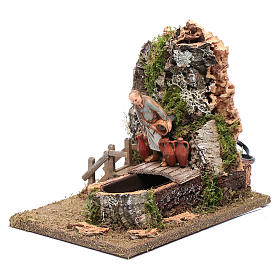 Fountain with innkeeper for nativity scene 20x25x15 cm s2