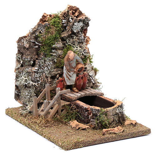Fountain with innkeeper for nativity scene 20x25x15 cm 3