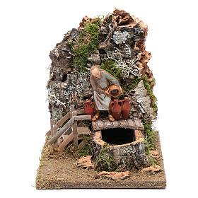 Maisons, milieux, ateliers, puits: Fontaine avec tavernier pour crèche 19,5x22,5x16 cm