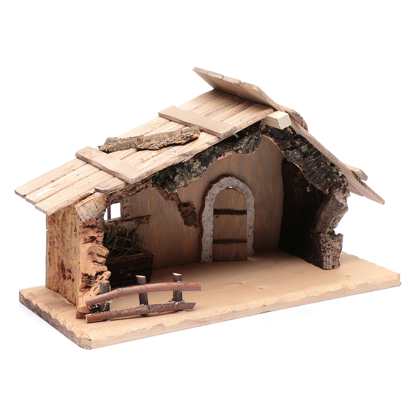 Empty hut in solid wood and cork 25x45x20 cm 4