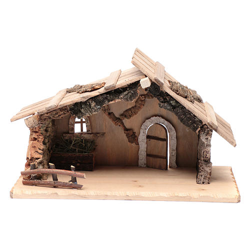 Empty hut in solid wood and cork 25x45x20 cm 1