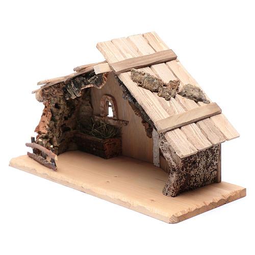 Portal vacío de madera maciza y corcho 25x45x20 cm 2