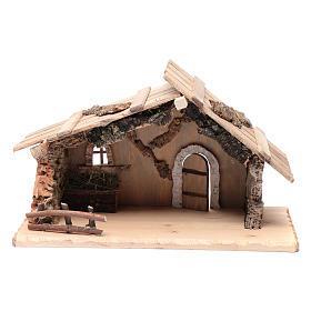 Cabanas e Grutas para Presépio: Cabana vazia em madeira maciça e cortiça 25x45x20 cm