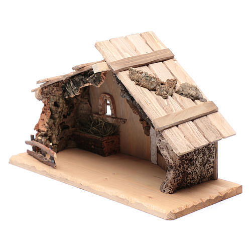 Empty hut in solid wood and cork 25x45x20 cm 2