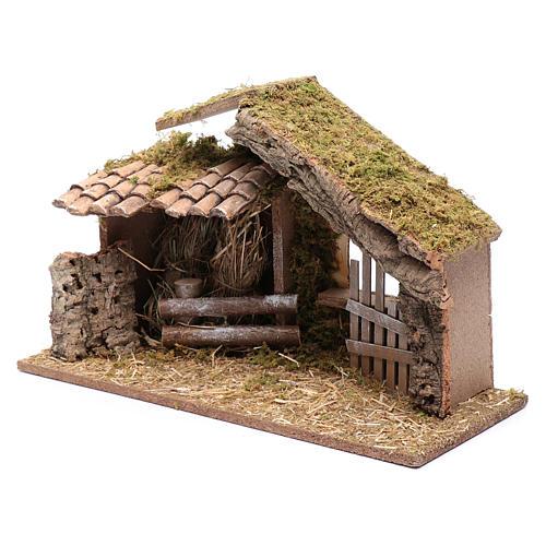 Hütte mit Gehege 25x40x20 cm 2