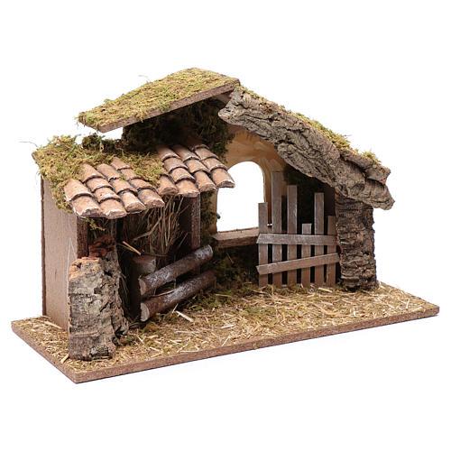 Hütte mit Gehege 25x40x20 cm 3