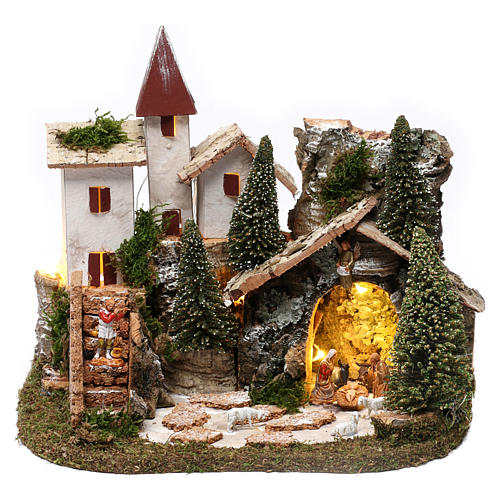 Nordic nativity scene village  20x25x20 cm 1