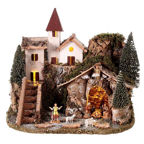 Nordic nativity scene village  20x25x20 cm 1