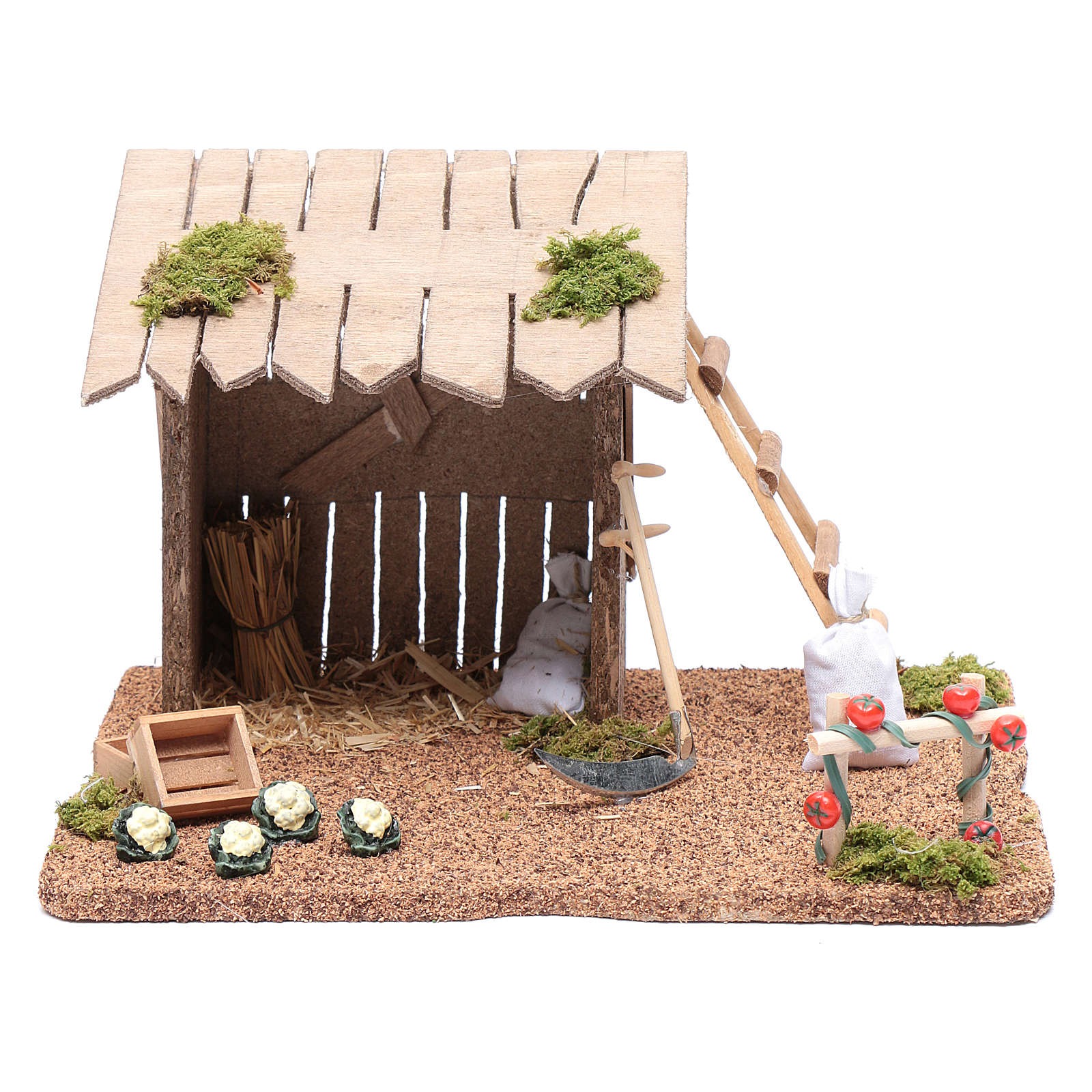 Hut with vegetable garden for nativity scene 20x25x20 cm 4
