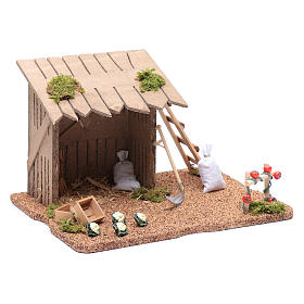 Hut with vegetable garden for nativity scene 20x25x20 cm s3