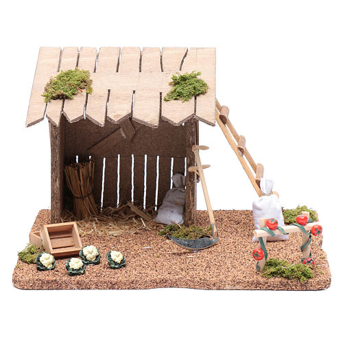 Hut with vegetable garden for nativity scene 20x25x20 cm 1