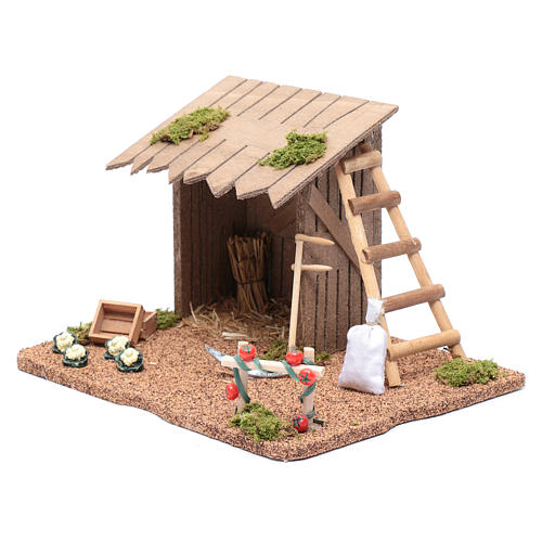 Hut with vegetable garden for nativity scene 20x25x20 cm 2