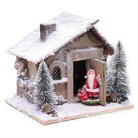 Father Christmas house 20x20x20 cm with movement s4