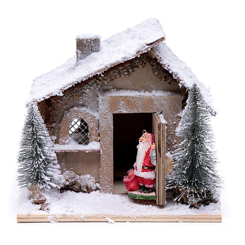 Father Christmas house 20x20x20 cm with movement 1