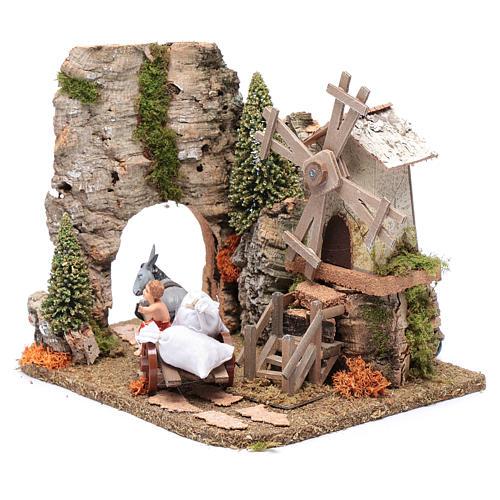 Nativity scene windmill with cart 20x25x20 cm 2