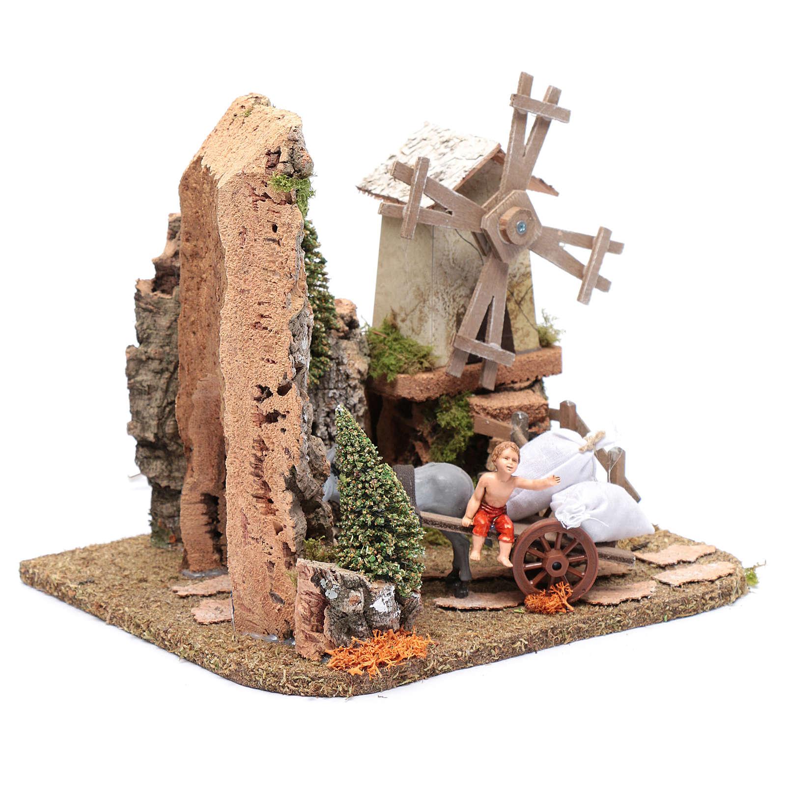 Nativity scene windmill with cart 20x25x20 cm 4