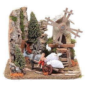 Nativity scene windmill with cart 20x25x20 cm s1