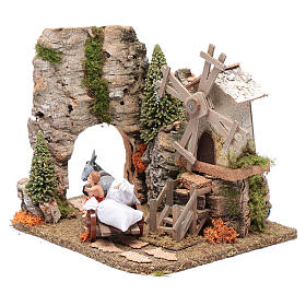 Nativity scene windmill with cart 20x25x20 cm s2