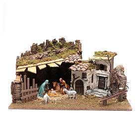 Establo y casitas en yeso para pesebre 30x60x40 cm s1