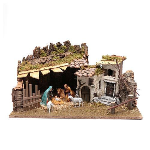 Establo y casitas en yeso para pesebre 30x60x40 cm 1