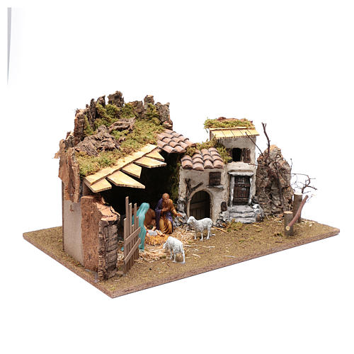 Establo y casitas en yeso para pesebre 30x60x40 cm 3