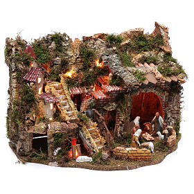 Pueblo con fuente, luz y fuego 40x60x45 cm s3