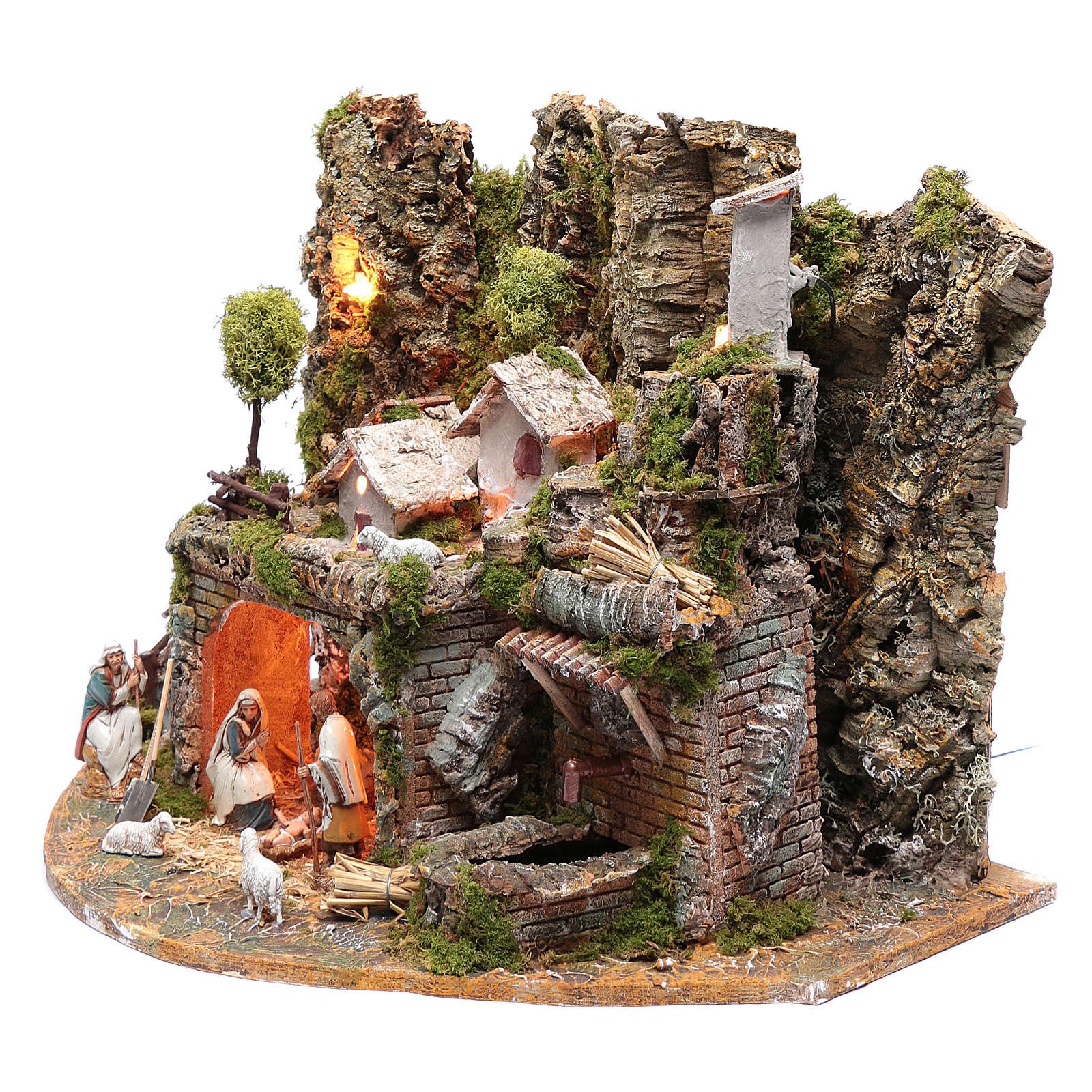 Village avec maisons fontaine feu et lumières 41,5x57x38 cm 4
