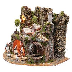 Village avec maisons fontaine feu et lumières 41,5x57x38 cm s2