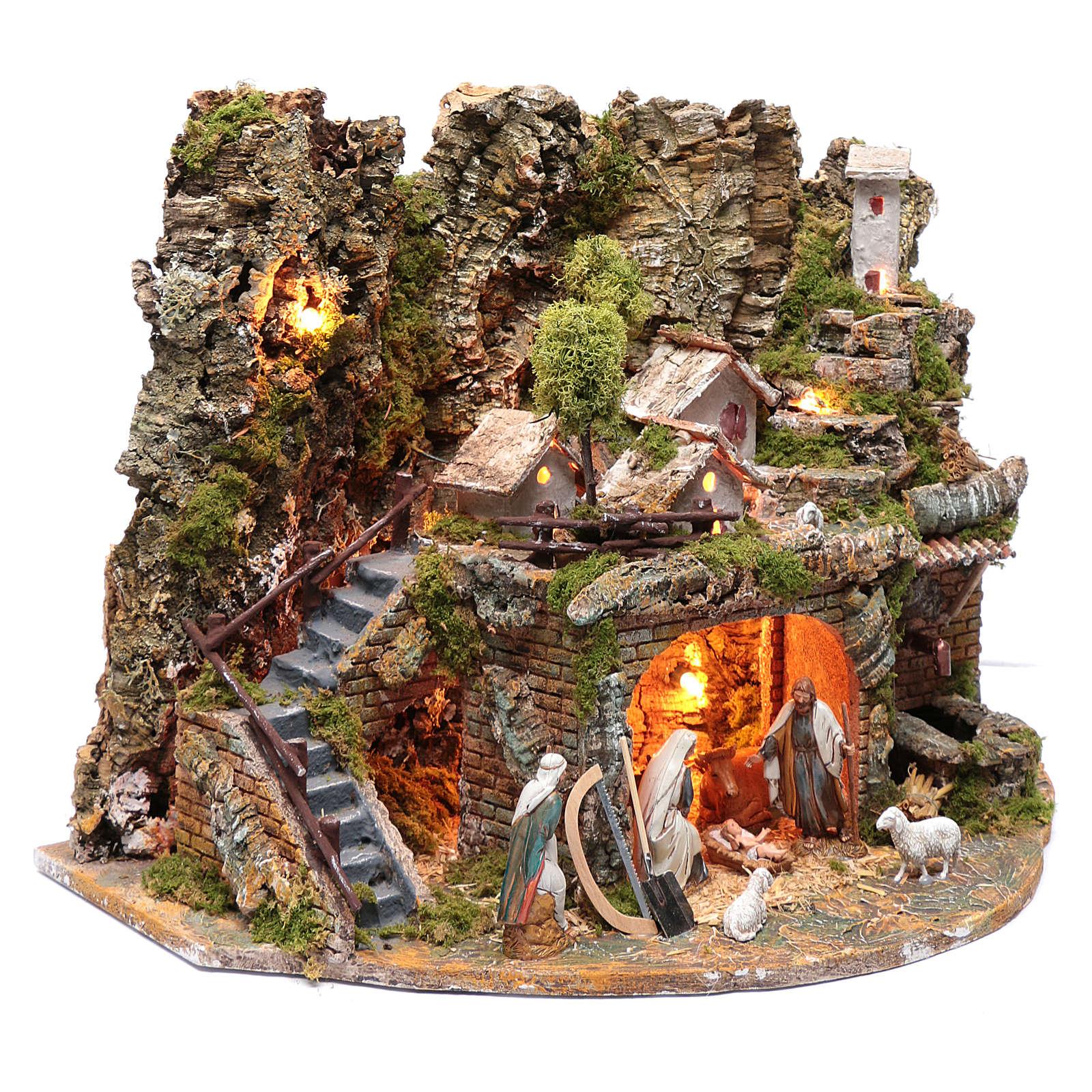 Paesaggio con casette, fontana, fuoco e luci 40x60x40 cm 4