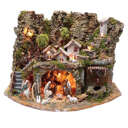 Paesaggio con casette, fontana, fuoco e luci 40x60x40 cm 1