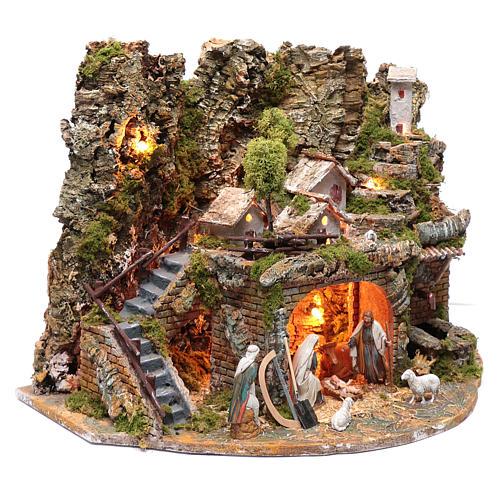 Paesaggio con casette, fontana, fuoco e luci 40x60x40 cm 3