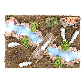 Bridges, streams and fences for Nativity scene: River section with flock 15x25x20 cm