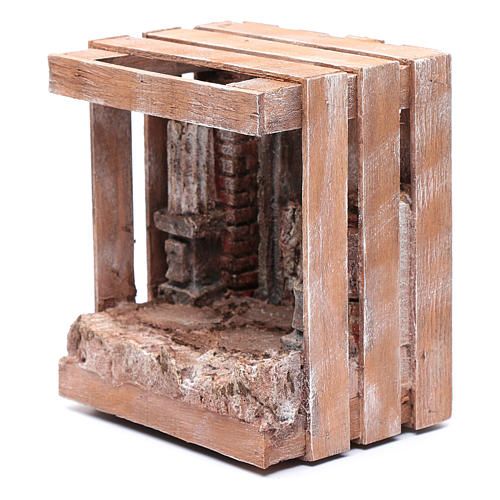 Capanna per presepe in legno 20x15x15 per statue 10 cm 2