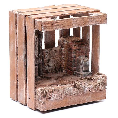 Capanna per presepe in legno 20x15x15 per statue 10 cm 3