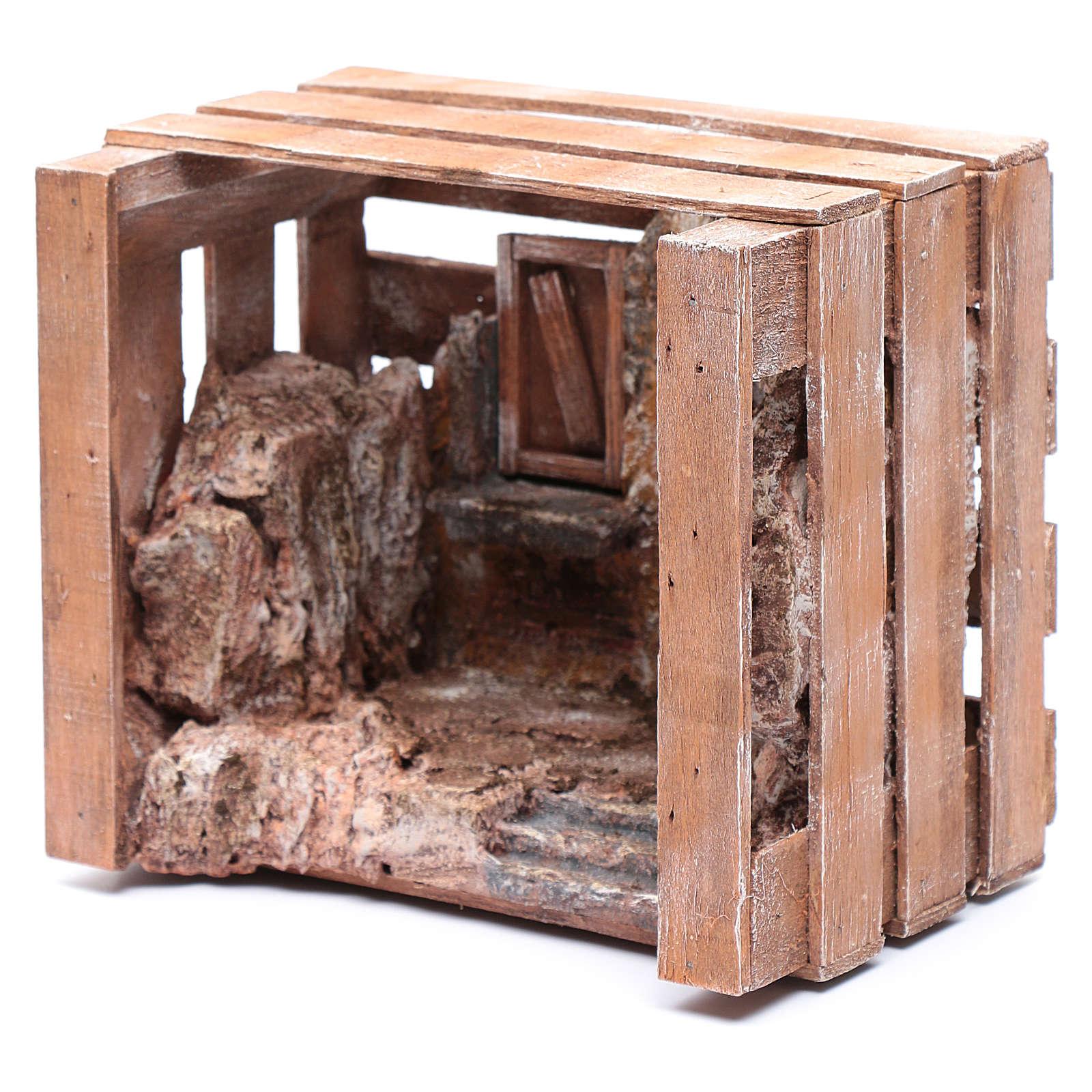 Capanna in cassetta legno 15x20x15 cm presepe 10 cm 4