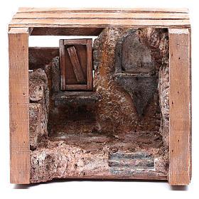Capanna in cassetta legno 15x20x15 cm presepe 10 cm s1