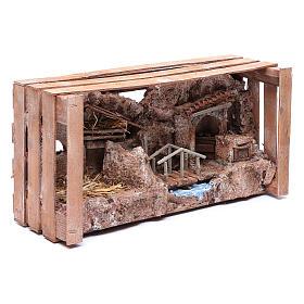 cave in wooden box for nativity scene 20x35x15 cm s7