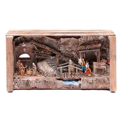 cave in wooden box for nativity scene 20x35x15 cm 1